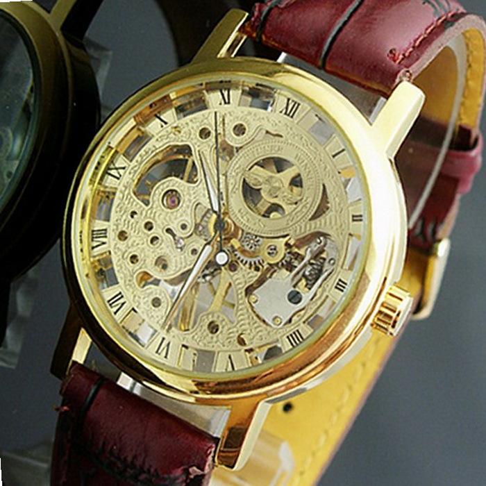 2014 nuovo arrivo in pelle manuale meccanico a vento orologi da scheletro per gli uomini moda vintage orologio da polso da uomo wa1001