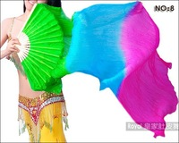 180cm Belly Dance Silk Fan Veils for Pair  Green - Sky Blue - Rose  In Stock