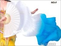 180cm Belly Dance Silk Fan Veils for Pair  White - Sky Blue  In Stock