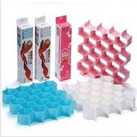 Free Shipping Honeycomb Drawer Organizer Storage Divider Underwear Sock Tie Drawer Closet Divider Storage Box Pink Blue White