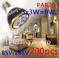 200Pcs/lot Par20 Led Lamp E27 Dimmable 3X3W 9W Spotlight Led Light Led Bulbs 85V-265V Energy Saving Free shipping