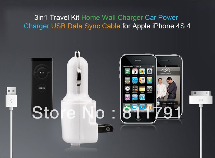 free shipping 3in1 Travel Kit, Home Wall and Car charger USB cable for iPhone 4S/GS/POD Touch/nokia/HTC/Samsung(China (Mainland))