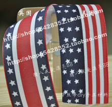 Free Shipping 38mm width personalized fashion american flag ribbon bow material 100 Yards/Lot(China (Mainland))