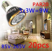 20Pcs/lot Par20 Led Lamp E27 Dimmable 3X3W 9W Spotlight Led Light Led Bulbs 85V-265V Energy Saving Free shipping
