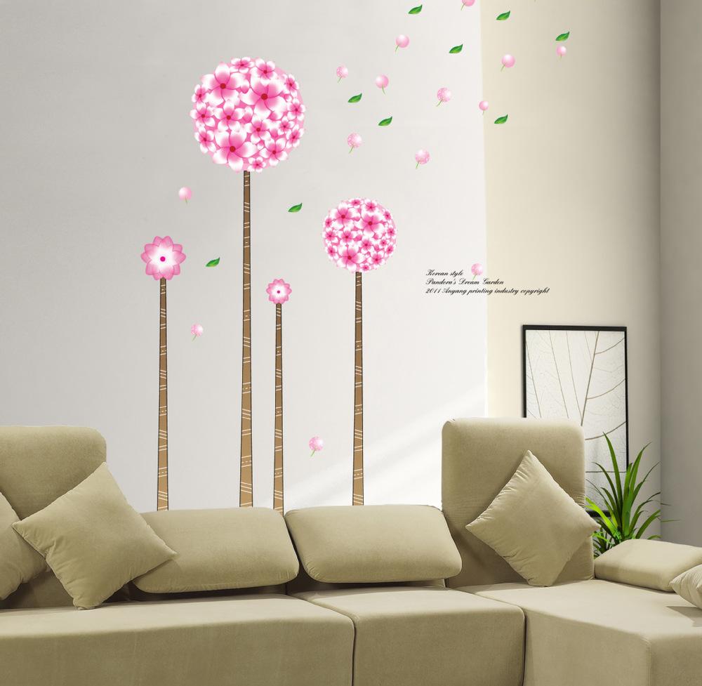 2013 New Home Decor Sticky Room Diy Large Background Wall Art Decoration Stickers Dandelion Pink Dandelion Paster Wallpaper