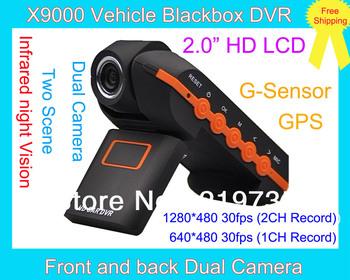 "X9000 720P 30fps Recording  Dual Lens Car Camera 2.0"" TFT 140 Degree Angle GPS Logger G-Sensor Vehicle Blackbox Video Recorder"