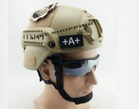 Tactical airsoft Helmet with NVG Mount ARC Rail tan