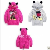 Retail baby bow sweatershirts cartoon hooded top hot pink mickey jackets & coats spring fall pullover boy girl clothes kids wear