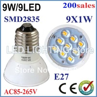 FREE SHIPPING 200pcs LED Light Bulb E27/GU10/MR16 85-265V 9W SMD2835 Lamp Spotlight Cool/Warm White New energy saving led bulb