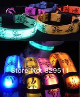 100 PCS/lot  Hot Sale Free DHL Pet Dog LED Collar Glow Cat Collars Flashing Nylon Light Up Collar 6 Colors + 3 Sizes