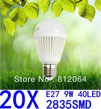 20X Spherical Bulb 2835 SMD 40LED  AC85-265V  9W E27 led High power Energy Saving Globe Light bulbs Lamp Lighting