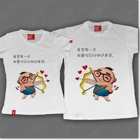 T-shirt lovers short-sleeve summer love me women's T-shirt painting