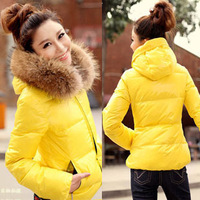 new Autumn and winter women fashion slim fur collar with a hood wadded jacket female short design cotton-padded jacket women's