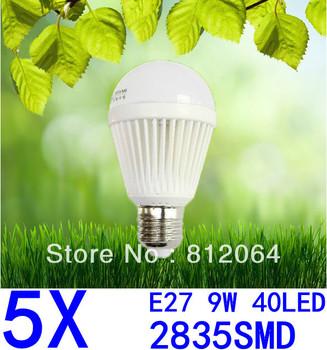 5X Spherical Bulb 2835 SMD 40LED  AC85-265V  9W E27 led High power Energy Saving Globe Light bulbs Lamp Lighting