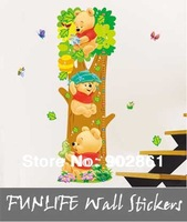 [funlife]-75-140cm Ruler Kids wall stickers Lovely WTP Bear & butterflies Kids Growth Chart Height Tower