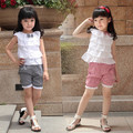 3pcs/lot free shipping, Summer female child laciness cutout top plaid shorts children set qb-0569