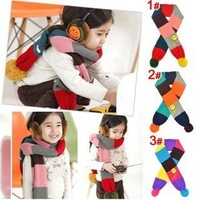 Chromophous smiley color block decoration spherule child scarf /baby scarf/ baby muffler scarf/ male female child yarn scarf
