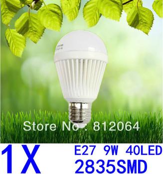 1X Spherical Bulb 2835 SMD 40LED  AC85-265V  9W E27 led High power Energy Saving Globe Light bulbs Lamp Lighting