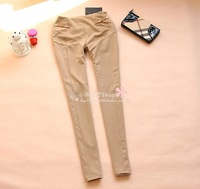 2 spring constringe slim elastic pencil pants long trousers pants -Free Shipping