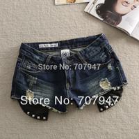 Free shipping 2014 summer rivet short metal decoration Dark Blue jeans shorts caucal hole denim shorts women hot pants
