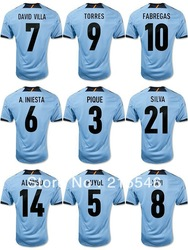 A. INIESTA ,TORRES ,XAVI ,FABREGAS 12/13 Spain away blue soccer football jerseys, best thai quality soccer shirt ,free shipping(China (Mainland))