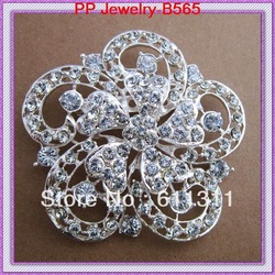 Free shipping(6pcs/lot)Silver tone Clear crystal rhinestone Beautiful flower Girls Romantic Wedding invitation brooch!!(China (Mainland))