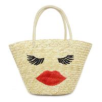 Straw bag fashion flaming lips bag one shoulder straw bag fashion handbag women's