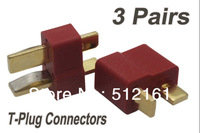 3 Pair T Plug Connector Anti Slip Male & Female Deans Connectors Lipo Battery