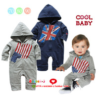 Coolbaby torx flag with a hood long sleeve length pants bodysuit romper baby boy cloth