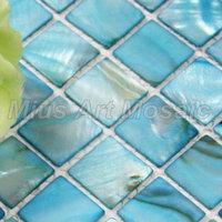 [Mius Art Mosaic] Blue sheel mosaic tile  puzzle  for shower wall decoration A4BK006