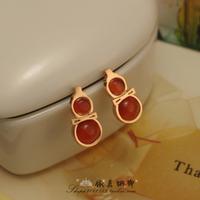 Free Shipping Ornaments 2 fashion agate garnet red gourd stud earring titanium