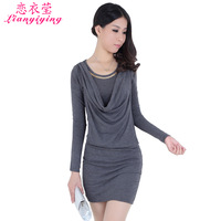 new arrival Women's 2013 dress spring slim hip basic autumn and winter korean o-neck long-sleeve women dresses promotion