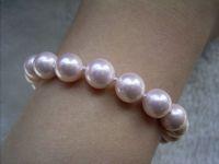 """graceful 8mm pink mother of pearl bracelet 7.5"""""""