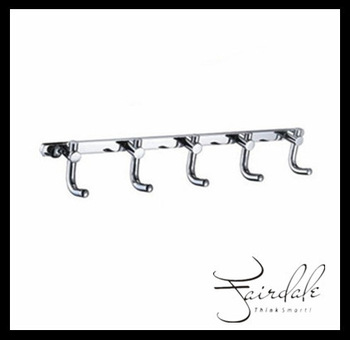 FREE SHIPPING Bathroom accessories/kitchen furniture Decorative  Chrome  wall  Robe Hook (5 hooks)  coat hooks