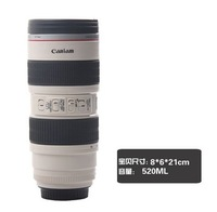 Free shipping Vacuum cup fashion lens cup 520 ml travel Coffee camera lens mug sport lens cup