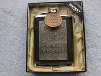 Wholesale - High quality HONEST  8 oz  jennesse whiskey emblem Drink flask stainless steel+leather Liquor Alcohol hip flask