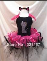 1 piece retail ! tutu suits cartoon black t shirt, girl flower (t shirt+dress) sets,baby suits BB05