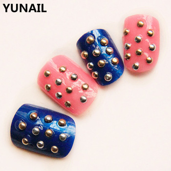 Blue powder color block short design false nail handsome short paragraph rivet finger adhesive nail art patch finger
