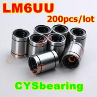 200pcs/lot 6mm 6mm*12mm*19mm 6x12x19mm LM6UU LB6UU SDM6 LM-6 LB-6 SM-6 LM61219 linear motion ball bearing bush bushing for CNC