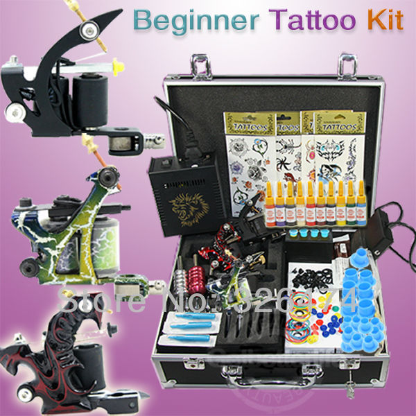 Free Shipping~~1 Machine Gun Power Supplies Needles Set Equipment Starter Tattoo Kit (USA) Tattoo Kits Wholesale(China (Mainland))