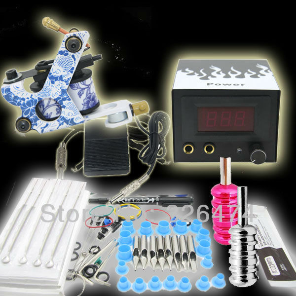 Free Shipping~~1 Tattoo Machine Gun Grips Needles Power Starter Kit Set Equipment Supplies(USA) Tattoo Kits Wholesale(China (Mainland))