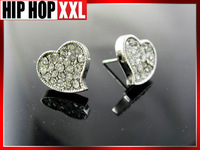 Heart heart  stud  hiphop earrings doodle  bling 2013 new reach