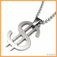 Free Shipping Fashion jewelry Dollars Symbol Pendant 316L Stainless Steel Necklaces Mens Necklaces 07568