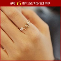 Free shipping Beautiful musical note rings for women set with crystal gold rings /silver 925 plated 1pcs/lot [WYL0060 M*1]