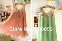E-B.Y.D HOT sale Wholesale 5pcs/lot Baby Girl Pink Lace Dress Princess Kids Desses for Summer Pink and green