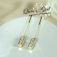 free shipping fashion austrian crystal Rectangle rhinestone hypoallergenic earrings  earring  accessories1.0