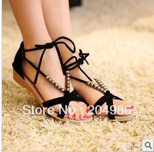 2013 Flat Heel Sandals Shoes 3 Color Opinion Beaded Lacing Gladiator Small Wedges Shoes Summer Casual Shoes Free Shipping SM055