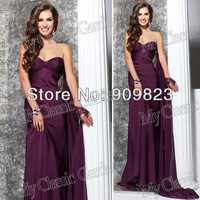 2013 Sweetheart Pleated Top Natural Waist Fromal Chiffon A Line Designer Purple Evening Gowns Dresses 2013