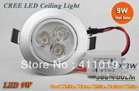 5PCS High power 9W 3x3W Led light 120 Beam Angle Pure / Warm White Led Fixture Downlights Recessed Lamp 85-265V light spot light