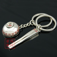 Lovers key chain wankuai couple key chain key ring chopsticks bowl keychain gift souvenir